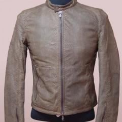 パイソン(蛇革)ライダーズジャケットの袖丈・袖幅詰め