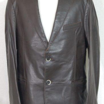 アルマーニ レザージャケット(茶) 袖を3・5cm詰め