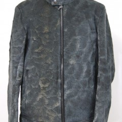 シングルライダースジャケット(鹿革バックスキン)の袖丈つめ