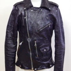 ライダースジャケットの袖丈詰め、レザージャケットの破れ補修