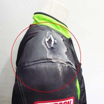 バイク用ジャケット 右肩の転倒時の革部分の補修