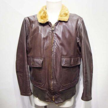 G-1 レザージャケット Dタイプ 両ニットカフスとウエストニットの交換と布パッチ1枚縫い付け