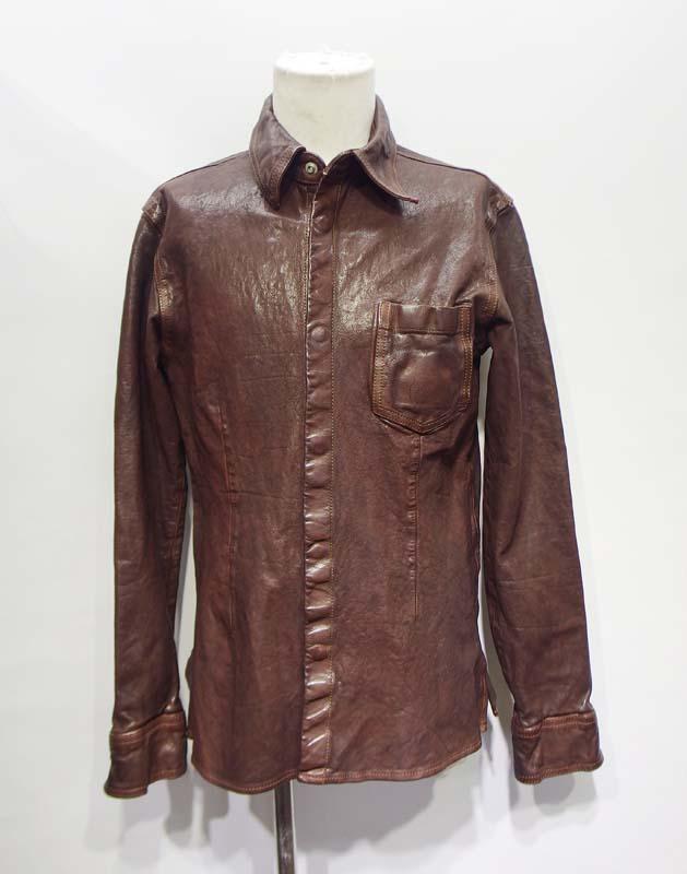 BACKLASHのイタリアンダブルショルダーレザーシャツ(brown)のサイズダウン