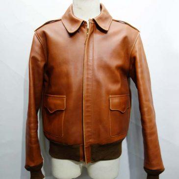 レザージャケット 両袖、ウエストのリブ交換