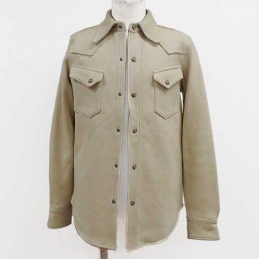 レザーシャツの着丈詰めと裾の形状変更、身幅詰め