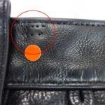 クロムハーツのレザーパンツ ベルトループを移動した痕の補修
